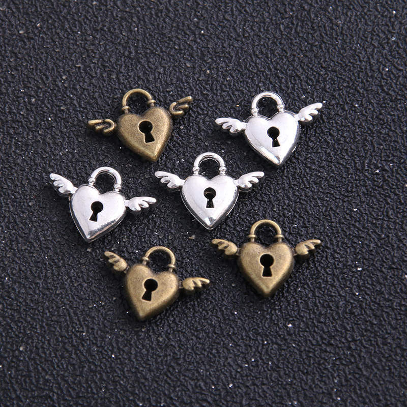 16pcs 13*18mm Antique Silver Color Alloy Mini Wings Heart Charms Lock Cylinder Jewelry