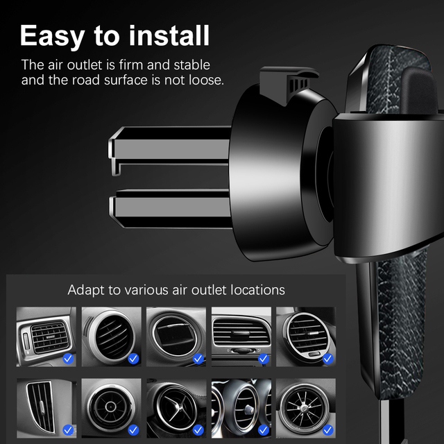 Mobile Phone Holder Gravity Bracket Air Vent Stand Mount Automobiles & Motorcycles Unisex color: Black|Black|White