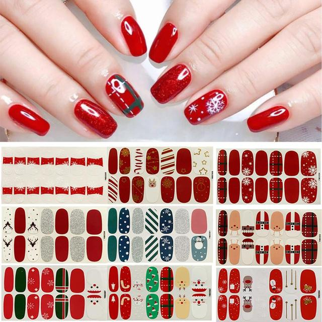 14Tips/sheet Long Lasting Waterproof Christmas Nail Art Stickers Full Cover Wraps Manicure Decals DIY Nail Decoration 1