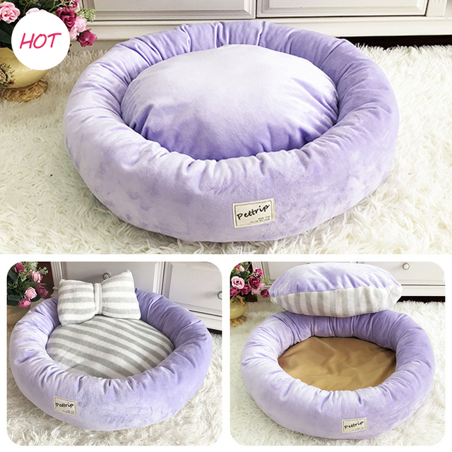 Зимняя теплая кровать для собаки, Круглый кот, зимний теплый спальный мешок, плюшевый щенок, подушка, коврик, Портативные товары для кошек, в...