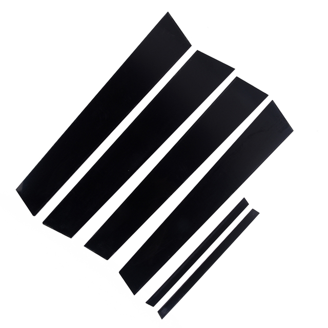 6 adet araba pencere Pillar mesajları kapak Trim siyah ayna etkisi Honda Civic 2006 2011 için otomatik pencere ayağı direkleri kapak Trim