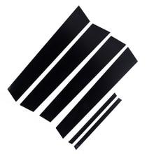6pcs 자동차 창 기둥 게시물 커버 트림 블랙 미러 효과 혼다 시빅 2006 2011 자동 창 기둥 게시물 커버 트림