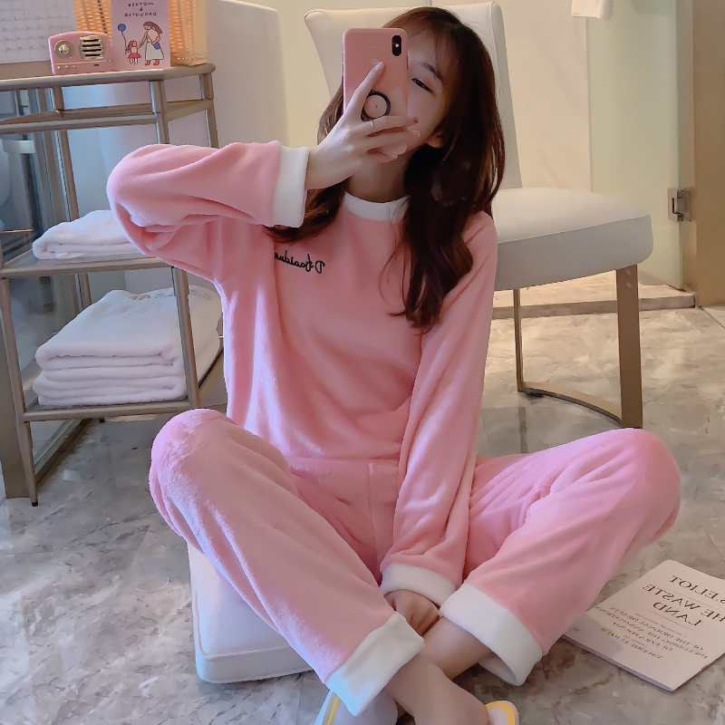 Winter Women Pajamas Sets Coral Velvet Flannel Thick Warm Women Pyjamas Female Sleepwear Cute Animal Homewear Full Trousers