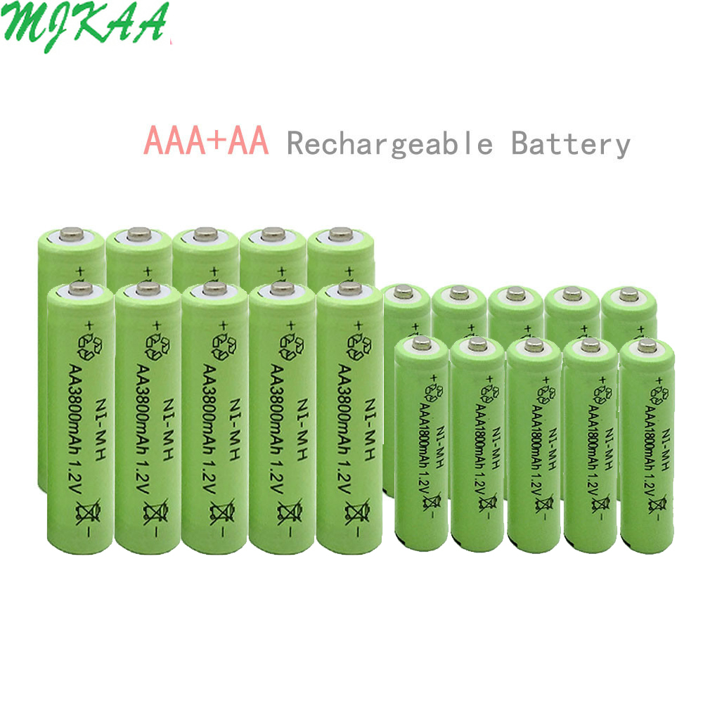 10pcs Ni-MH AA 3800mAh + 10 pcs AAA 1800mAh Rechargeable BatteriesFor Remote controls, Radios Torches Clocks Toys image