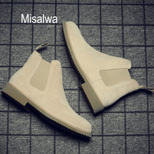 Winter Boots Suede Chelsea Men Sand Misalwa Ankle Khaki Pointed-Toe Casual All-Match
