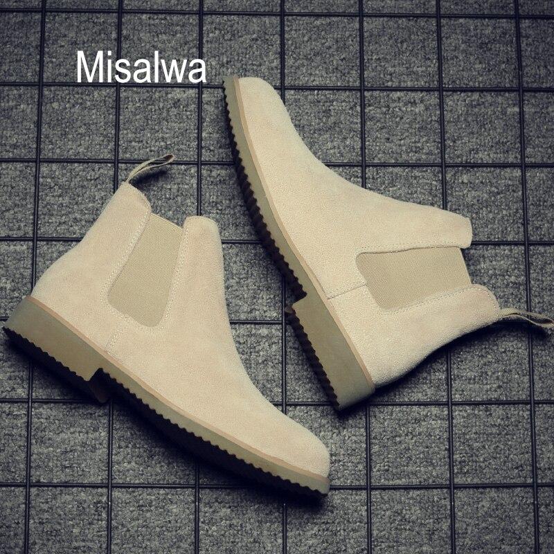 Мужские Простые Ботинки Челси Misalwa, коричневые замшевые ботинки с острым носком, до щиколотки, на каждый день, размеры 37 44, зима 2019|Ботинки челси|   | АлиЭкспресс - Мужская обувь