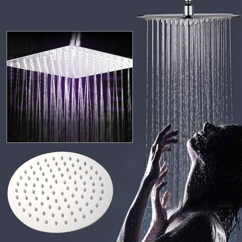 Large Round Square Chrome Stainless Steel Rainfall Overhead Shower Head Spray Bathroom Bath Toliet Home Supply Accessories
