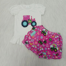 Toddler Kids Baby Girl Clothes Summer 2pcs Short Sleeve Tractor T-shirt Tops Shorts Girls Outfit Set Tracksuit 0-16 Years краска аэрозольная monarca универсальная 400мл коричневая арт 18017