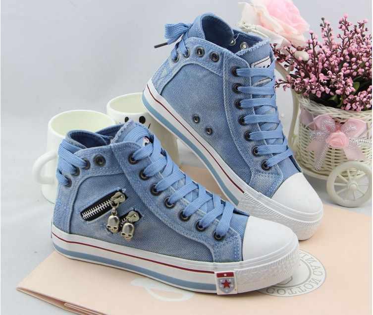 Kadın moda ayakkabı Denim kanvas ayakkabılar bahar/sonbahar rahat ayakkabılar eğitmenler yürüyüş kaykay dantel-up ayakkabı Femmes klo90
