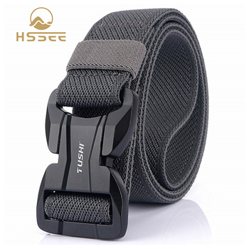 HSSEE 2020 New Tactical Belt 3.8cm Quality Elastic Nylon Mens Military Belt Hard Metal Magnetic Buckle Quick Release Army Belt