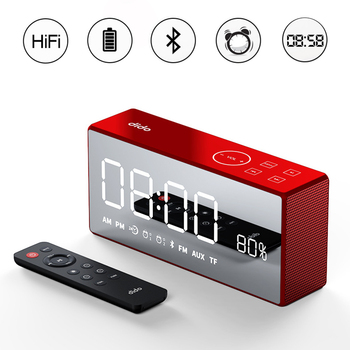 Wireless  Bass Column Retro Bluetooth Speaker New Mini Family Mirror Small Audio Radio Remote Control Alarm Clock Smart Speaker