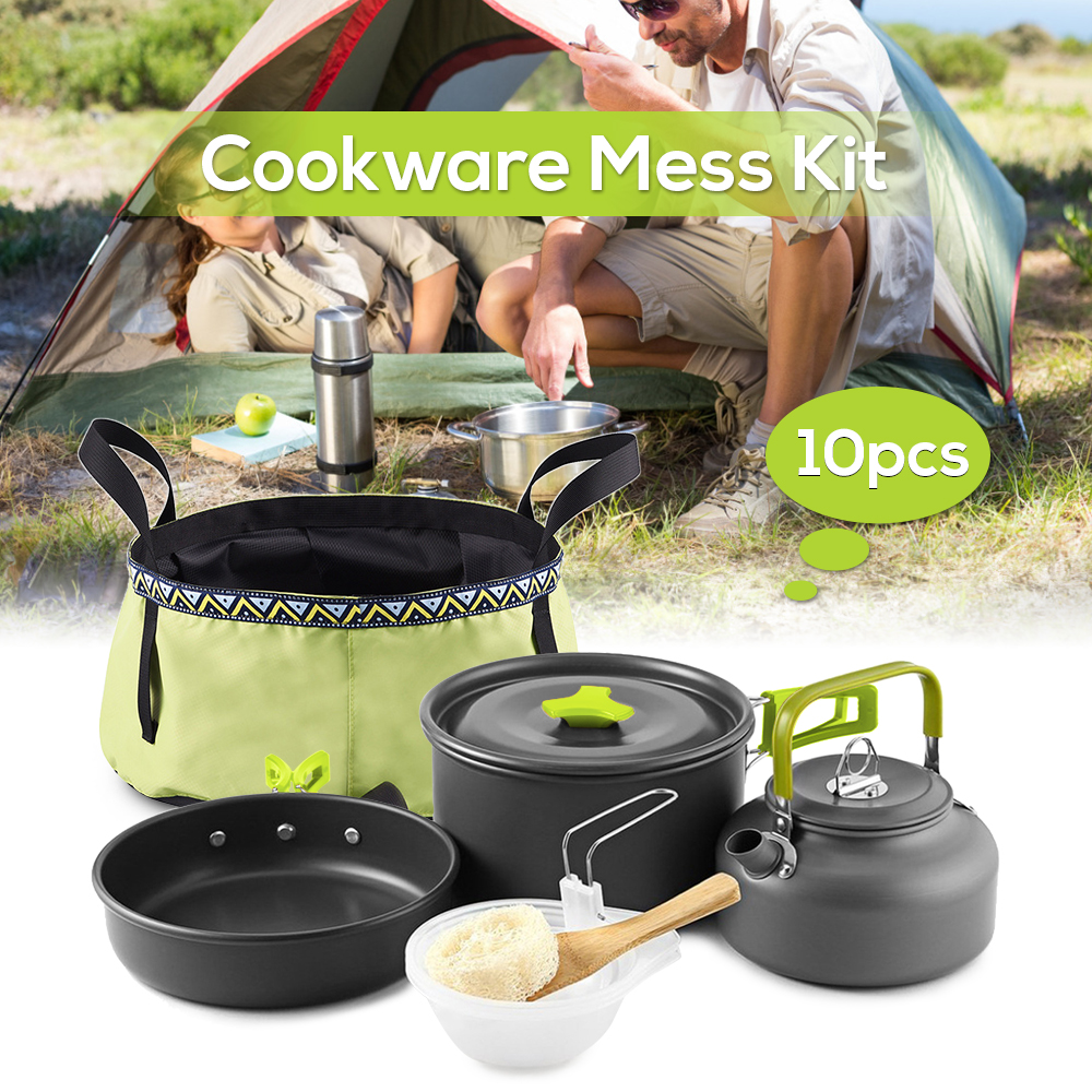 10Pcs Outdoor Picnic Tableware Mess Kit Backpacking Cooking Pot Pan Set Kettle with Folding Wash Basin Bucket for 2 3 People