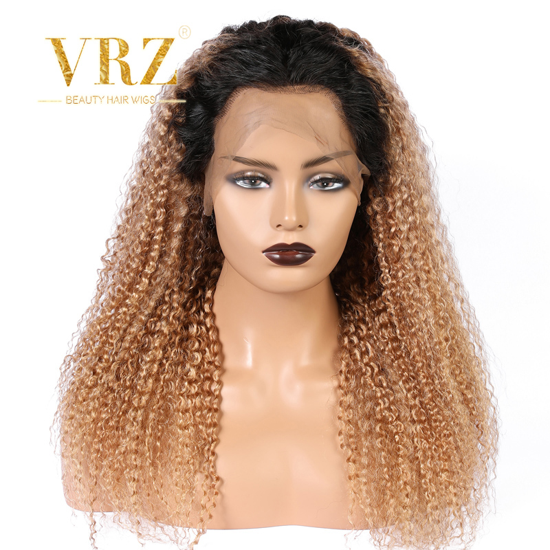 1B/27 Ombre Curly Lace Front Human Hair Wigs With Baby Hair Pre Plucked Remy Brazilian Lace Wigs Bleached Knots 150% Density VRZ