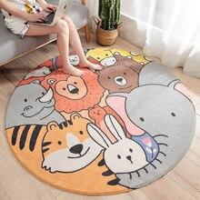 Cartoon Animal Kingdom Pattern Round Lamb Velvet Carpet Non-slip Bedroom Door Soft Touch Mat symmetrical pattern door mat