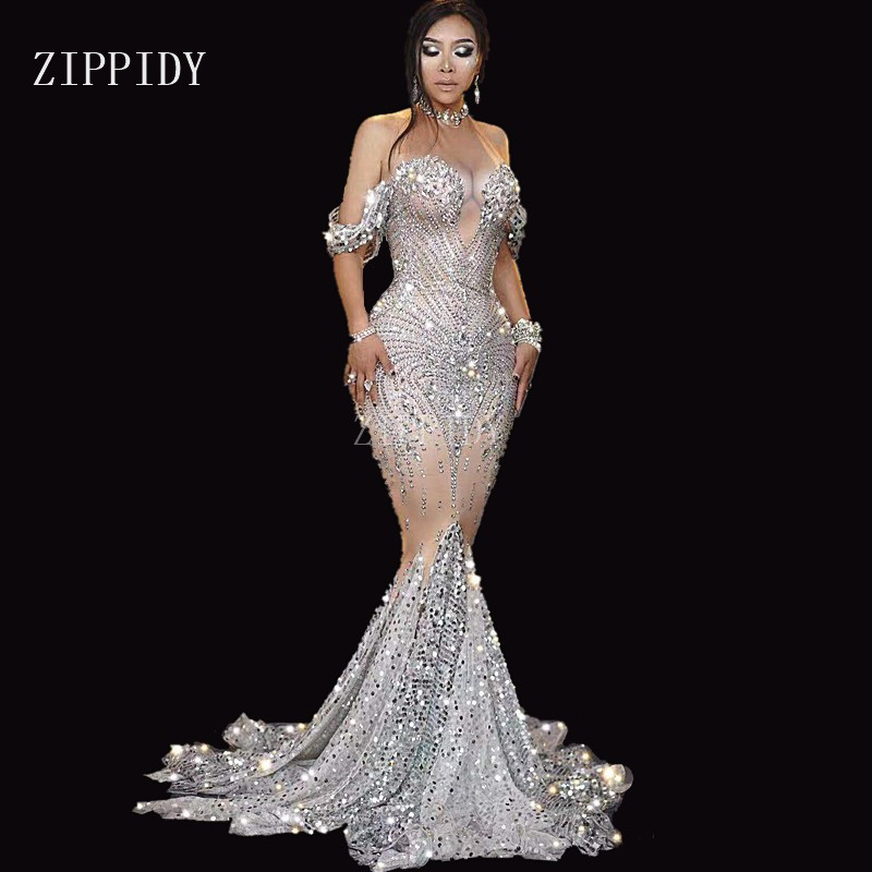 Shining Silver Rhinestones Sequins Dress Women's Birthday Prom Celebrate Outfit Stage Evening Female Singer Long Dress