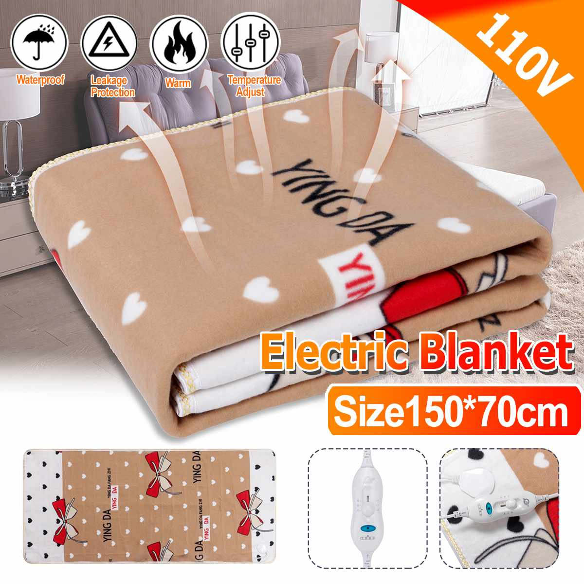 150x70cm 110V Winter Electric Blanket Heater Single Body Warmer Heated Blanket Thermostat Electric Heating Blanket Warm Pad