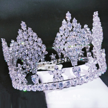 Himstory Luxury Cubic Zircon Crown Tiara Silver Sparkling Crown Royal Queen Princess Pageant Party Bridal  Hair Jewelry