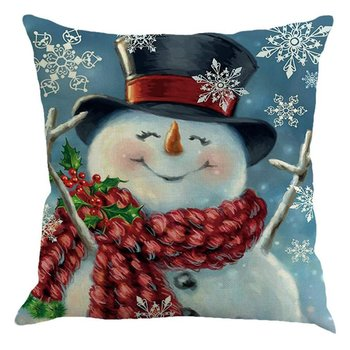 Christmas Pattern Linen Pillowcase Car Bed Home Waist Cushion Throw Pillow Case Peach Skin Square Gift image