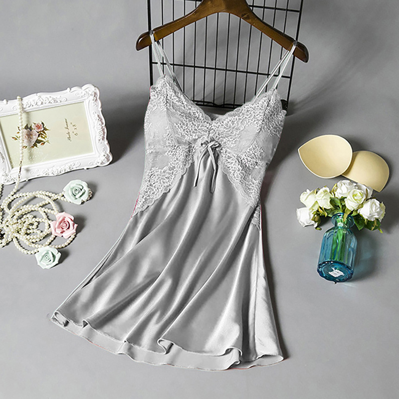 2020 Women Sexy Nightgown  Sleepwear Dress V Neck Strappy Solid Nightwear Night Dress Female Clothes Mujer Vestido Lace