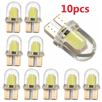 10x Car Width Lamp T10 Door light White Silicone Shell 3W COB LED Lights for Instrument Light Reading 12V