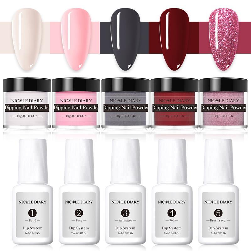 NICOLE DIARY Dipping Nail Powders Set Base Coat Gradient French Nail Natural Color Glitter Cure Nail Art Decoration