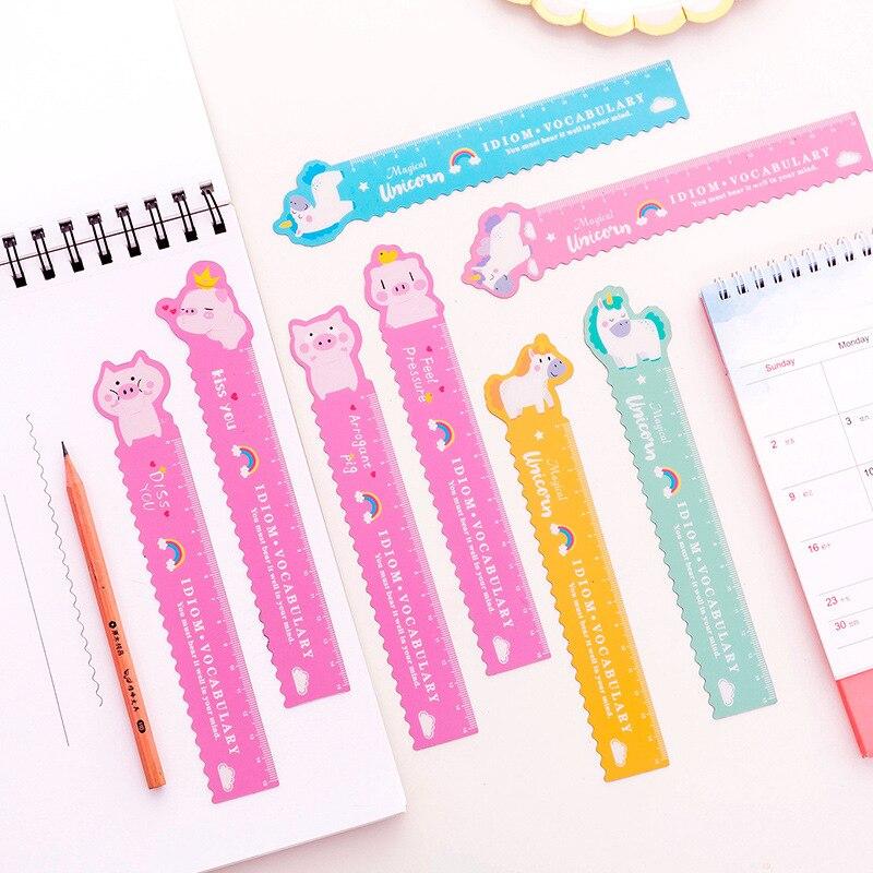 1Pcs 15cm Cute Cartoon Pig Unicorn Plastic Ruler Colour Modeling Student Ruler School Supplies Statoionery