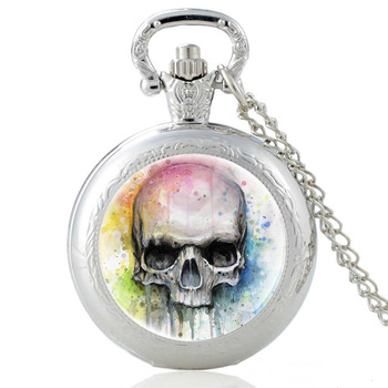 Fashion Classic Cool Skull  Glass Dome Quartz Pocket Watch Vintage Men Women Punk Style Necklace Pendant Jewelry Holiday Gift