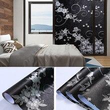 Blackout Window Film 100% Light UV Blocking Window Vinyl Decor Frosted Privacy All Black 3d Flower Self-adhesive Glass Sticker