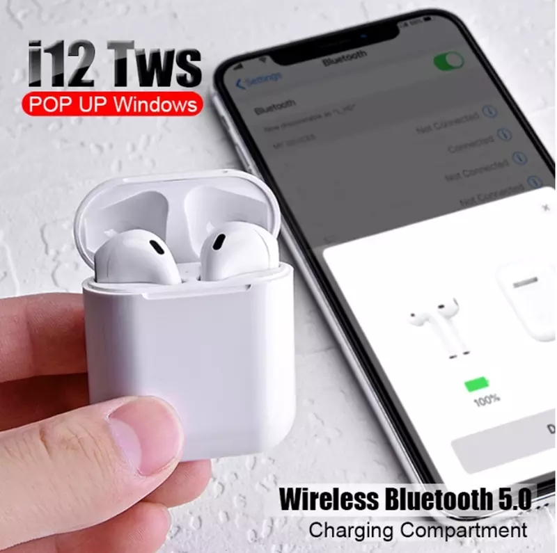 i12 TWS Wireless Headset Mini Earbuds Bluetooth 5.0 Stereo earphone for IPhone Android Phone