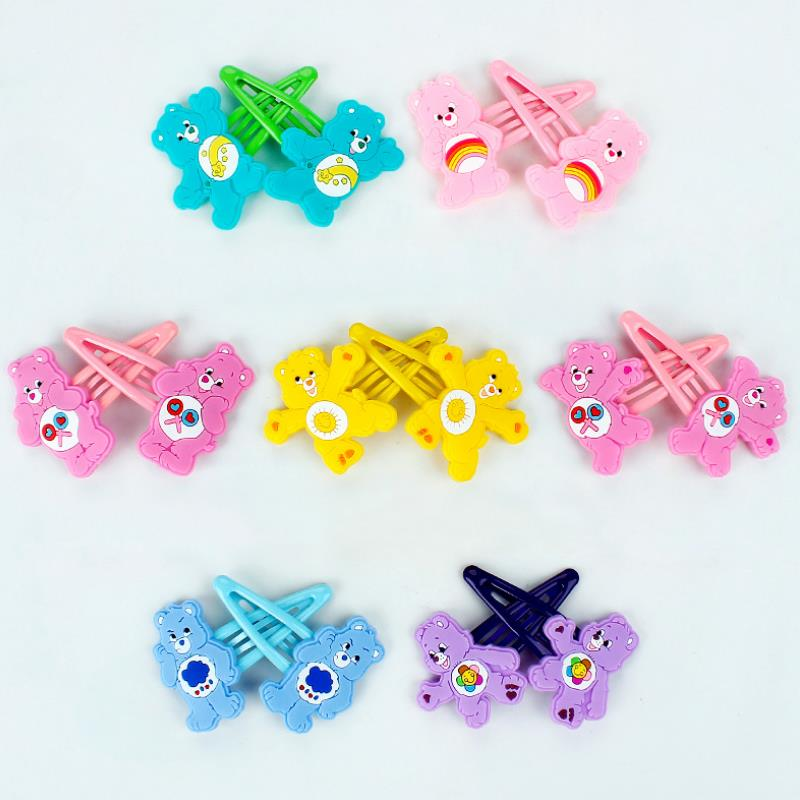 1 Pair Lovely Cartoon Rainbow Bear Care Bears Hairpin Girl Headdress Side Clip Hair Accessories Plastic BB Clip Figure Toy Gift