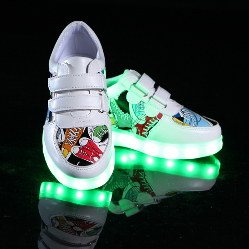 Size 25-35 Glowing Sneakers For Kids With Lights Girls Luminous Sole LED Shoes Kids Boys USB Charge Lighted Shoes For Children