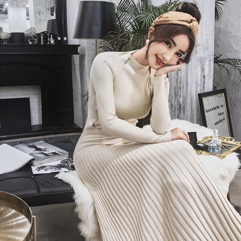 Automne hiver longue robe à tricoter col montant mince chaud pull plissé longue robe