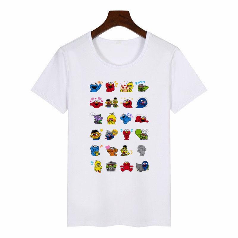 18bff124eb276 2019 New Summer Women's T-Shirt Sesame Street Graphic Tees Women Japanese  Harajuku T-Shirt Anime Female Tops Aesthetic Clothes