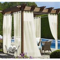 NICETOWN-Panel impermeable de 4 colores para decoración de jardín, cortinas transparentes para porche y Exterior, gasa con ojal de anillo plateado