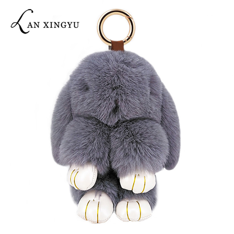 Cute Rabbit Puffy Pompon Keychain Handmade Pokemon Bags Pendant Fashion Jewelry Ornament Car Key Chain New Year Gifts Kids Toys