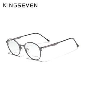 Image 3 - KINGSEVEN 2020 التيتانيوم مستديرة عدسات طبية إطار نظارات الرجال قصر النظر النساء وصفة طبية النظارات الذكور المعادن نظارات