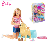 Original Barbie Newborn Pups Doll & Pets Toy Set Genuine Dog Baby Care Girls Doll Accessories Ducational Toys for Children Gift