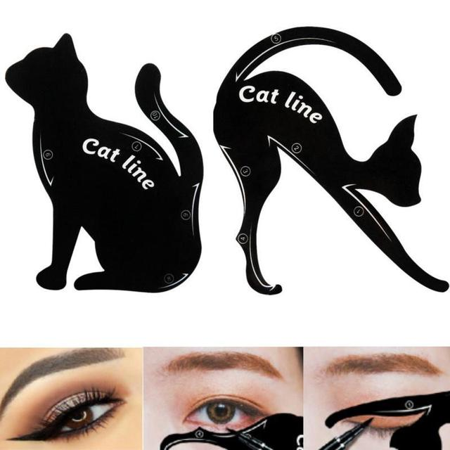 BearPaw Eyebrow Mold for Women Girl Stencils 2Pcs Women Cat Line Pro Eye Makeup Tool Eyeliner Stencils Template Shaper Model