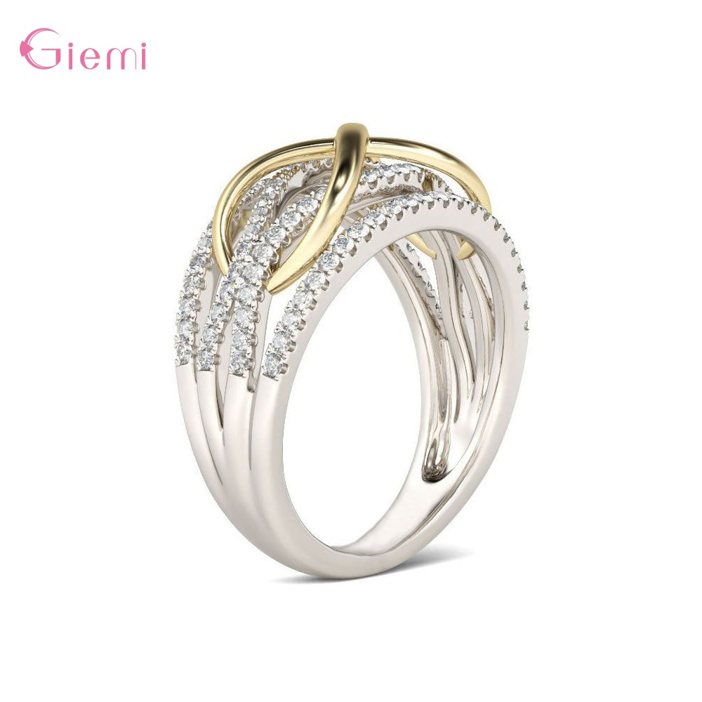 Popular New Arrival S925 Sterling Silver Sparlking Crystal Unlimited Irregular Charms Rings For Women Girls Fashion Jewelry Gift