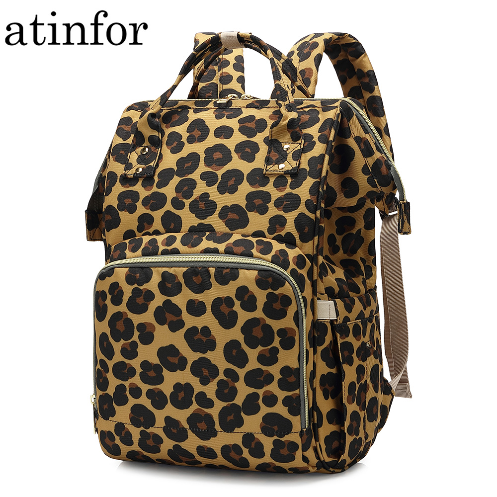 Atinfor Bag Backpacks Hanging-Trolley Printing Leopard Diaper Care Nappy Baby Maternity-Mother