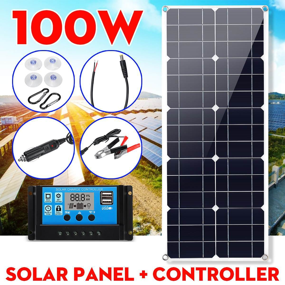 <font><b>100W</b></font> <font><b>12V</b></font> 5V <font><b>Solar</b></font> <font><b>Panel</b></font> Charger <font><b>Solar</b></font> Battery 10A Controller Monocrystalline Alligator Clip USB Car Outdoor Lead Acid Battery image