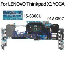KoCoQin laptop Motherboard Für LENOVO Thinkpad YOGA X1 Core SR2F0 I5-6300 8GB Mainboard 01AX807 14282-2M 448.04P16.002M getestet