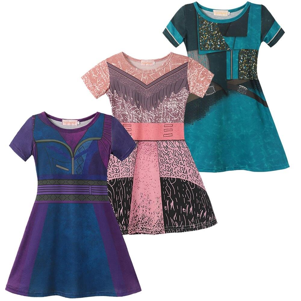 Descendentes 3 mal vestido para a menina festa de halloween audrey cosplay crianças uma rpg playing trajes 3d padrão impressão roupas dos miúdos