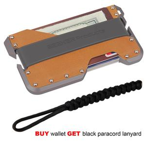 Image 3 - ZEEKER nowa aluminiowa RFID blokowanie posiadacz karty kredytowej prawdziwej skóry minimalistyczny portfel szara metalowa dla mężczyzn i kobiet