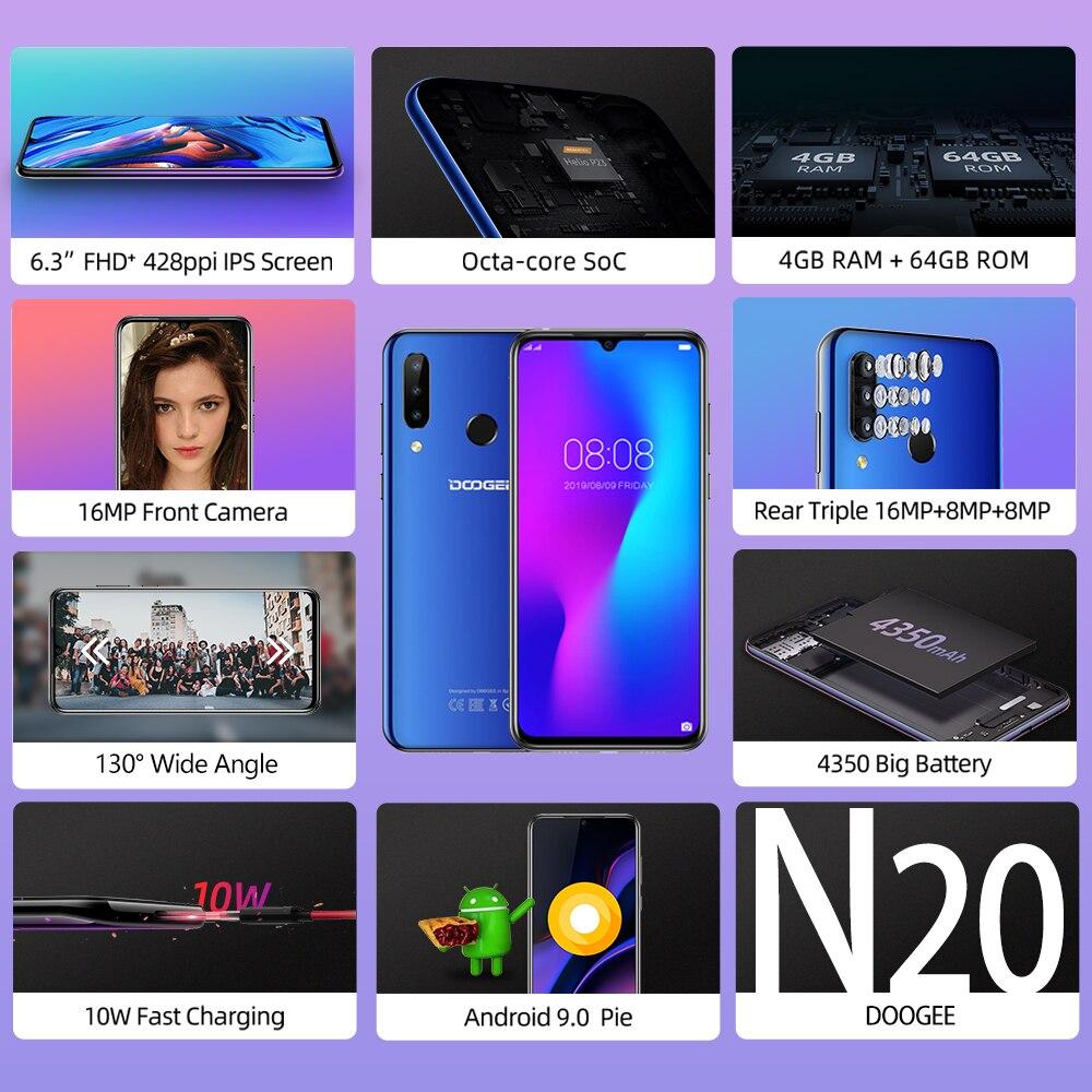 DOOGEE N20 мобильный телефон, отпечаток пальца, 6,3 дюймов, FHD+ дисплей, 16 МП, тройная задняя камера, 64 ГБ, 4 Гб, MT6763, четыре ядра, 4350 мАч, мобильный телефон LTE