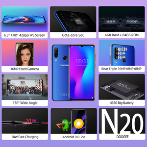 Image 2 - DOOGEE N20 Mobilephone טביעות אצבע 6.3 אינץ FHD + תצוגת 16MP לשלושה חזרה מצלמה 64GB 4GB MT6763 אוקטה Core 4350mAh נייד LTE