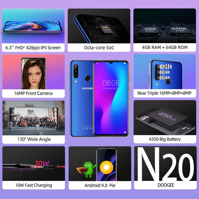 DOOGEE N20 Mobilephone Fingerprint 6.3inch FHD+ Display 16MP Triple Back Camera 64GB 4GB MT6763 Octa Core 4350mAh Cellphone LTE