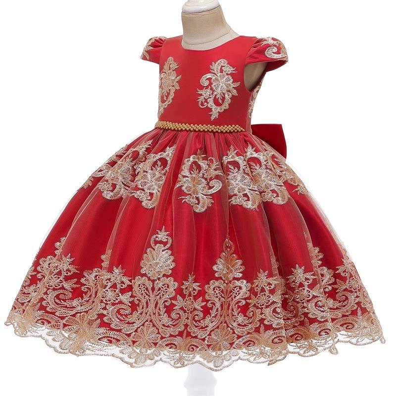 Traje de Año Nuevo para niñas, vestido de princesa con lazo extraíble, sin espalda, elegante