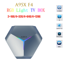 A95X F4 Smart TV BOX nowy światło RGB z systemem Android 11 procesor Amlogic S905X4 2.4G 5G WiFi 2G 4G RAM 32G 64G 128G ROM 4K HD YouTube Set-top box