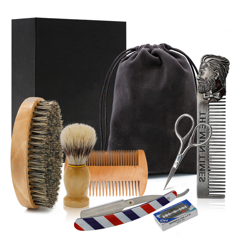 Beard Kit Beard Brush Set Double-sided Styling Comb Scissor Repair Modeling Cleaning Care Kit For Men G0113